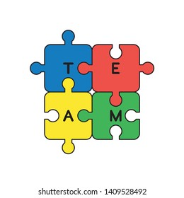 Vector icon concept of four connected team jigsaw puzzle pieces. Black outlines and colored.