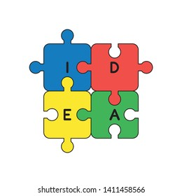 Vector icon concept of four idea jigsaw puzzle pieces connected. Black outlines and colored.