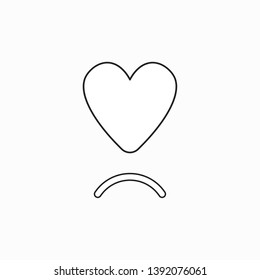 Vector icon concept of heart with sulking mouth. Black outlines.