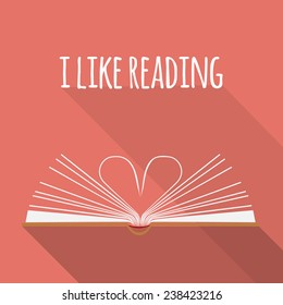 vector icon concept. I like reading. Open book pages as heart.