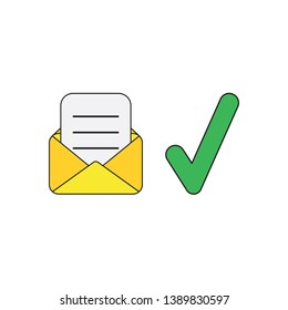 Vector icon concept of open yellow envelope with written paper and green check mark.