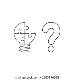 Vector icon concept of three connected light bulb puzzle, missing piece with question mark. Black outlines.