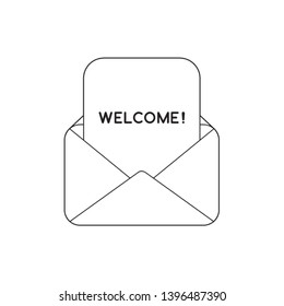 Vector icon concept of welcome paper inside mail envelope. Black outlines.