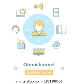 Vector Icon of Cross-Channel, Omnichannel, Several Communication Channels Between Seller and Customer, Digital Marketing, Online Shopping.