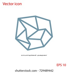 Vector icon of crumpled paper