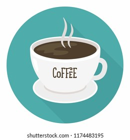 Vector icon of a cup of coffee. A cup of coffee is white with the inscription: Coffee. Illustration in a flat style.
