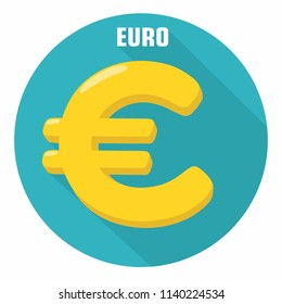 Vector icon with currency sign Euro. The yellow currency sign of the European Union in a flat style.