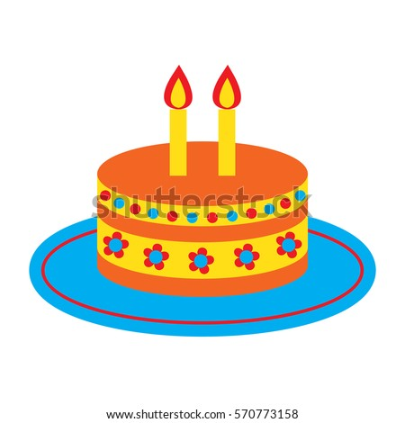 Vector Icon With Cute Bright Birthday Cake And Two Candles Isolated On The White Background Template For Years Old Design