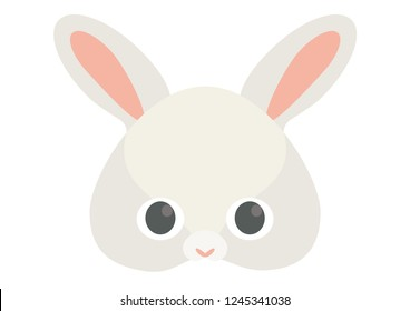 Vector icon of cute hare or bunny or rabbit. Animal masks for children.