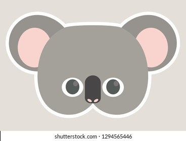 Vector Icon Of Cute Koala Animal Mask For Children