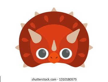 Vector icon of cute red dinosaur (triceratops). Dinosaur mask.