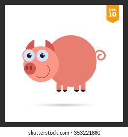 Vector icon of cute smiling cartoon pig