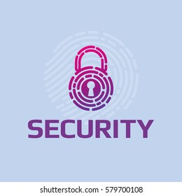 Vector icon cyber security logo padlock fingerprint