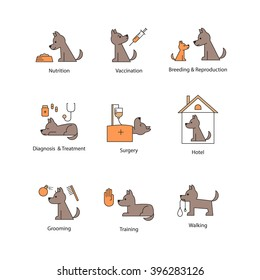 Vector icon design for pet service, vet hospital, veterinary clinic. Set of pictograms - grooming, walking, training, pet hotel, nutrition, breeding, reproduction, vaccination, diagnosis, treatment.