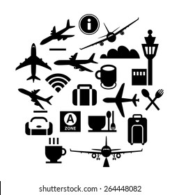 Vector icon design-Silhouette illustration for airplanes, signs of airport facilities in monochrome.