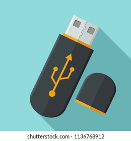 Vector icon of the device USB flash drive. USB flash drive black color with a sign of connection.