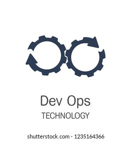 Vector icon of DevOps, represents the process of Development and Operations through Cogwheels.