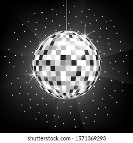 Vector icon of Disco or mirror silver ball on black background. Glitter ball for dance party, night club, symbol of fun. Light rays and reflection of mirror globe on dark backdrop.