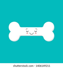 Vector icon of dog bone. Vector white icon on blue background. Kawaii bone. Cute character.