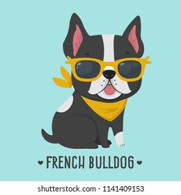 Vector icon dog breed French Bulldog. Puppy Bulldog in yellow glasses. French bulldog of black color.