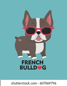 Vector icon Dog breed French bulldog. Image cartoon dog character  bulldog in glasses of pink color. Text: Love French Bulldog