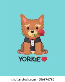 Vector icon Dog breed Yorkshire Terrier. Puppy in a black coat and red tie. Illustration cartoon dog character yorkie Puppy holding a red rose. Text: Love Yorkie