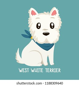 Vector icon of dog breeds West White Terrier. Illustration west white  terrier puppy is sitting.