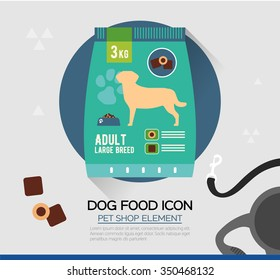 Vector icon of dog dry food. Pet snacks in pouches.Flat style. Icon design for illustration, pet shop, advertising. The sign to indicate.