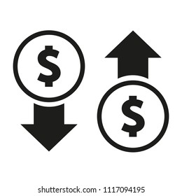 vector icon of dollar up or down