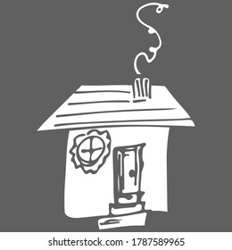 Vector icon. Doodle hand drawn sign of real estate. Childish illustration for print, web. Vector sketch illustration - country house. Childlike drawing of house. Line art. Simple silhouette
