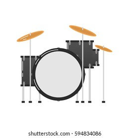 Vector icon of a drum kit on white background. Musical instruments topic.