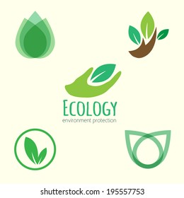 Vector icon ecology set. Environment protection.
