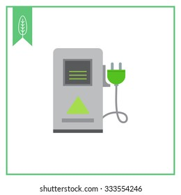 Vector icon of electric car charging station sign