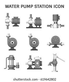 Vector icon of electric water pump and agriculture equipment for water distribution isolated on white background.