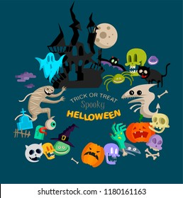 Vector icon and element decoration for happy Helloween