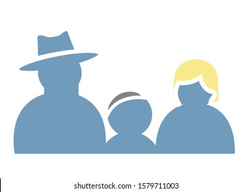 Vector Icon of Family Purity, Father Mother and Child Orthodox Jews in Symbolic Silhouette