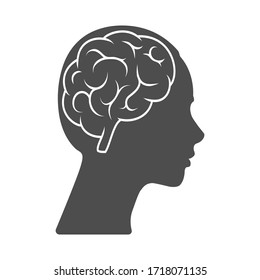 Vector icon of a female head with a brain. The silhouette is isolated on a white background. Simple design