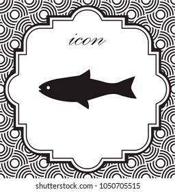 Vector icon fish on a geometric background of eps