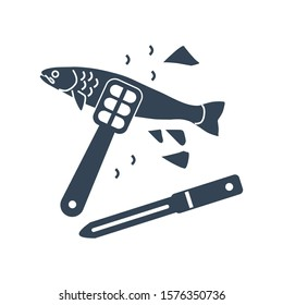 Vector icon fish processing, cleaning fish scales using fish scaler, knife