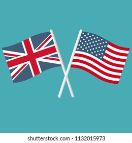 Vector icon flags of the Kingdom of Great Britain and the United States of America. The flags of the USA and England are crossed and swaying in the wind.