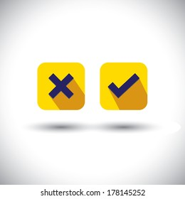 vector icon - flat design check mark or choice icons. This graphic illustration with long shadows also represents true, false, wrong wrong signs and usable in web and mobile applications