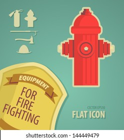 Vector icon flat firefighter equipment for fire fighting