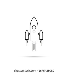 Vector icon of flying spaceship. Rocket ship logo taking off on a white background.