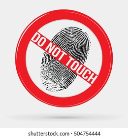 vector icon forbidden to leave fingerprints, touch, stop sign, ban, fingerprint