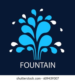 Vector icon fountain. Logo design template fountain and drop. Blue fountain on dark background. Abstract Tree water simple illustration for print, web.