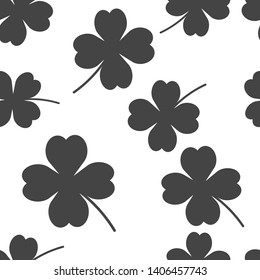 Vector icon four-leafed clover seamless pattern on a white background.