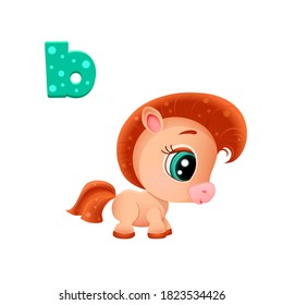vector icon of funny cute ginger foal with big eyes and pink ears and letters of the Russian, Ukrainian, Belarusian alphabet, ready for printing on a t-shirt, sticker for teaching children to read