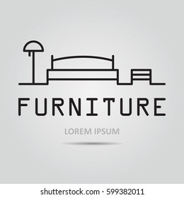 Vector icon with furniture and space text.