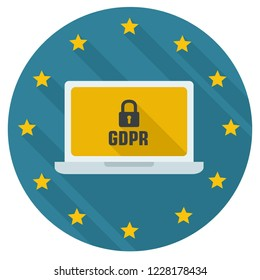 Vector icon General regulations on the protection of personal data. On the icon of a computer with a lock. Illustration in flat style. Text: GDPR