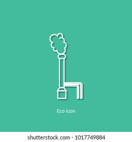Vector icon of geothermal energy station. Alternative renewable electricity generation concept. Geothermal power plant design element in trendy paper art 3d style. For print or infographic.